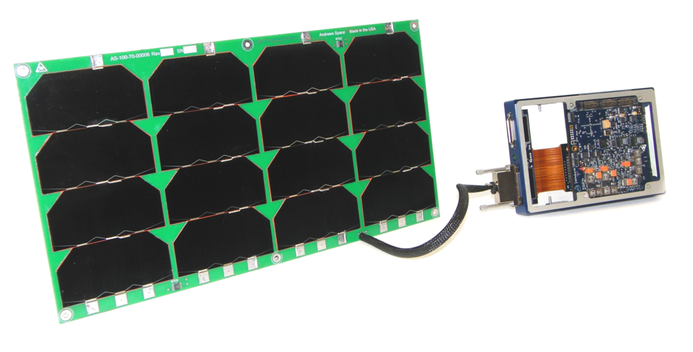 6U Solar Panel harnessed to a CORTEX 130 Electrical Power System card in a ring frame.